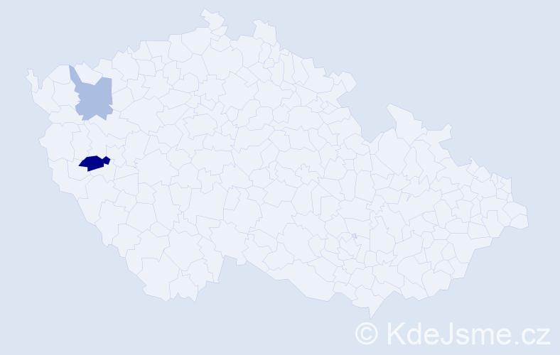 Příjmení: 'Argman', počet výskytů 6 v celé ČR