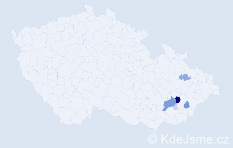Příjmení: 'Kojetský', počet výskytů 19 v celé ČR