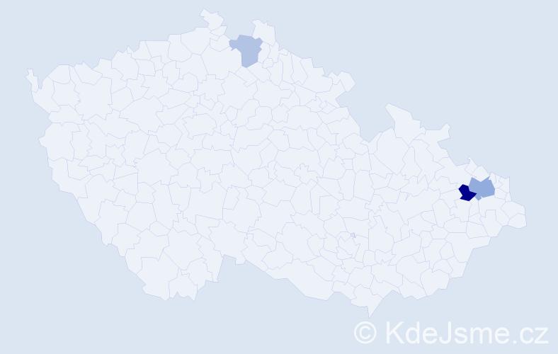 Příjmení: 'Kosik', počet výskytů 6 v celé ČR