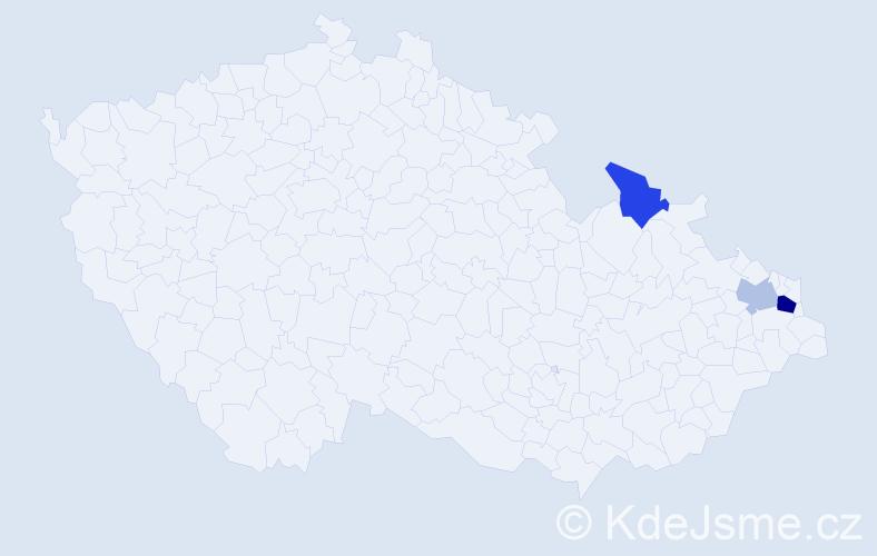 Příjmení: 'Brutvanová', počet výskytů 5 v celé ČR