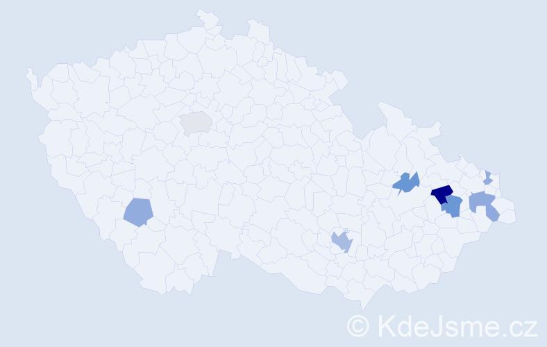 Příjmení: 'Klesniaková', počet výskytů 15 v celé ČR