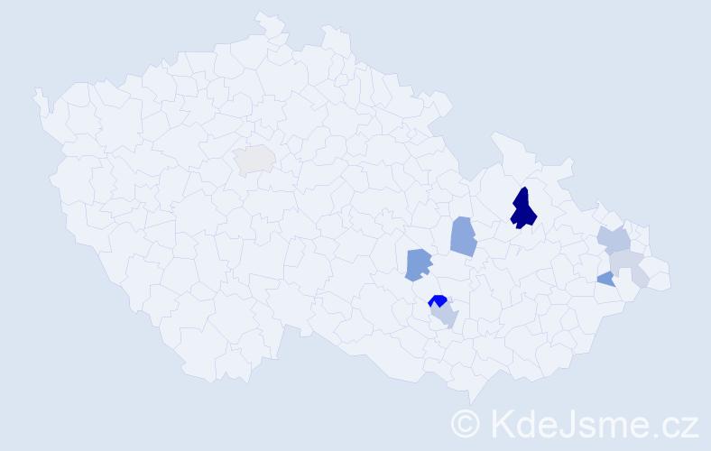 Příjmení: 'Baručák', počet výskytů 20 v celé ČR