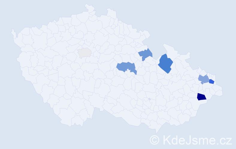 Příjmení: 'Fister', počet výskytů 18 v celé ČR