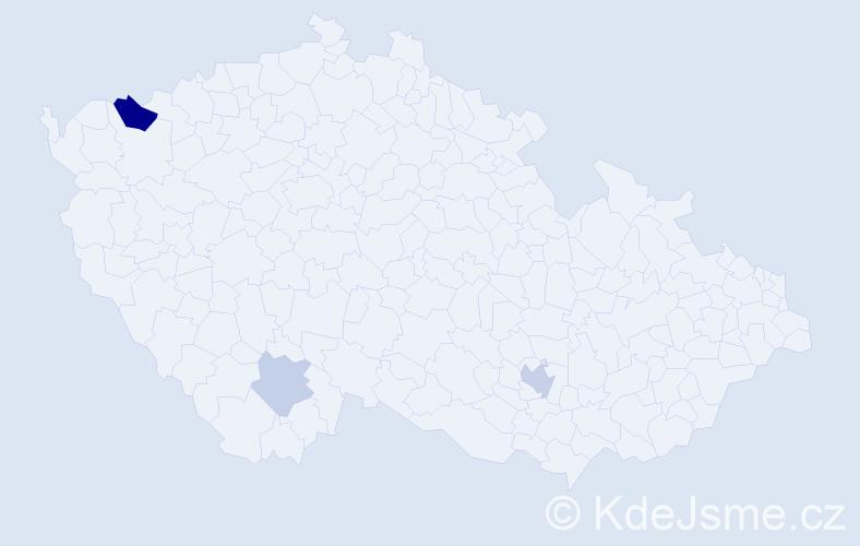 Příjmení: 'Denčev', počet výskytů 6 v celé ČR
