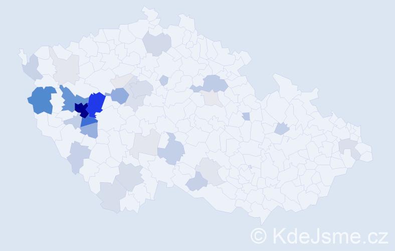 Příjmení: 'Huclová', počet výskytů 147 v celé ČR