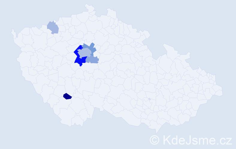 Příjmení: 'Hoznourek', počet výskytů 19 v celé ČR