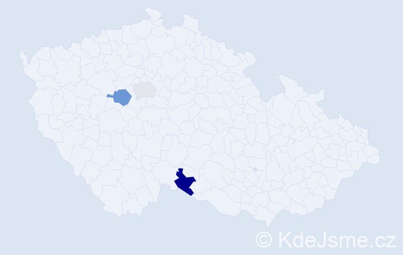 Příjmení: 'Giordanová', počet výskytů 3 v celé ČR