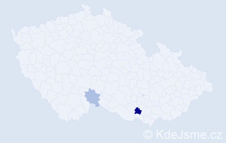 Příjmení: 'Kadličková', počet výskytů 3 v celé ČR