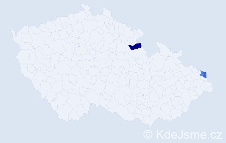Příjmení: 'Fačková', počet výskytů 4 v celé ČR