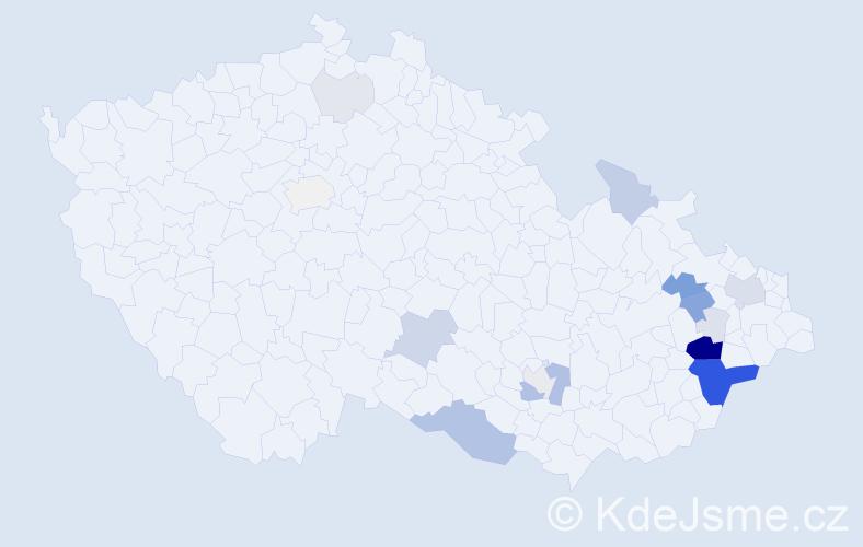 Příjmení: 'Janírková', počet výskytů 69 v celé ČR