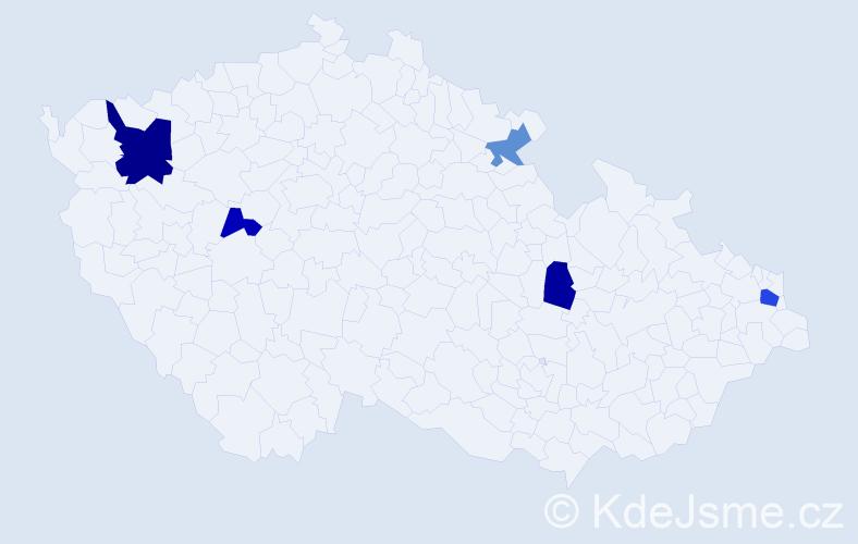 Příjmení: 'Harenčárová', počet výskytů 8 v celé ČR