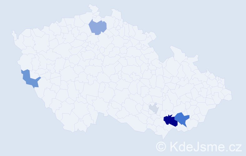 Příjmení: 'Janůšek', počet výskytů 10 v celé ČR