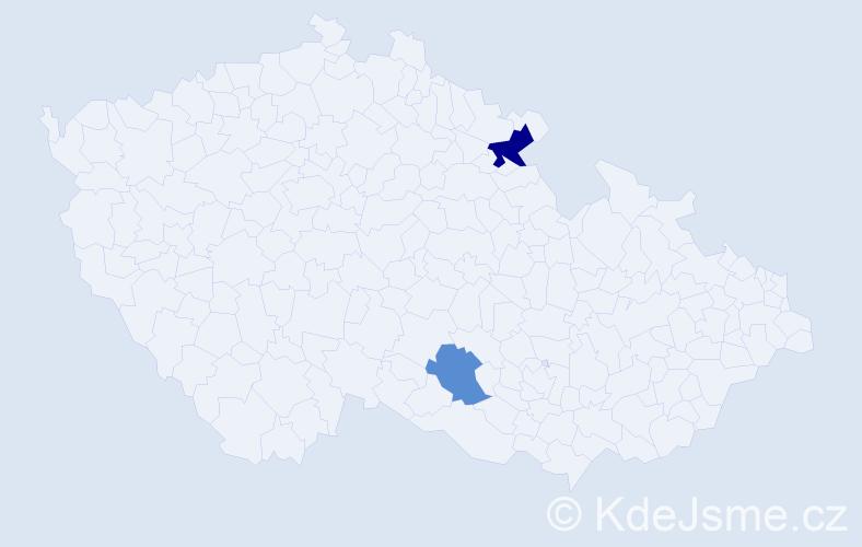 Příjmení: 'Četverikov', počet výskytů 3 v celé ČR