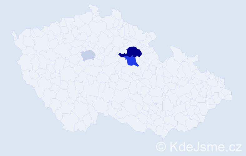 Příjmení: 'Dařbujánová', počet výskytů 11 v celé ČR