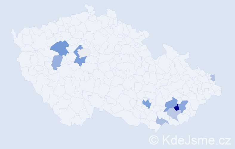Příjmení: 'Bittó', počet výskytů 25 v celé ČR