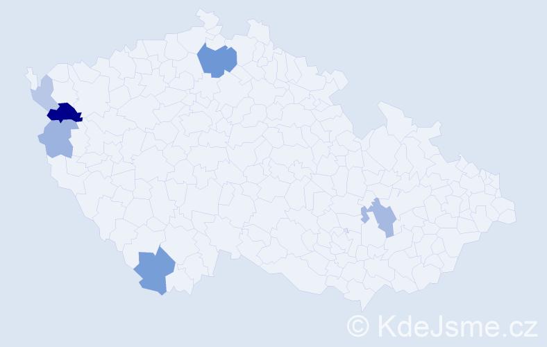 Příjmení: 'Kajlíková', počet výskytů 14 v celé ČR