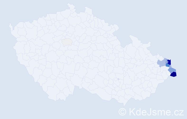 Příjmení: 'Brachaczková', počet výskytů 43 v celé ČR