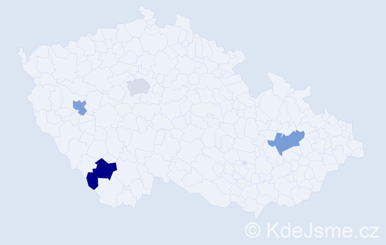 Příjmení: 'Franová', počet výskytů 4 v celé ČR