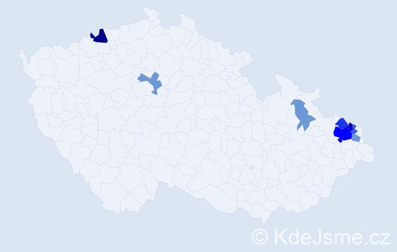 Příjmení: 'Hebda', počet výskytů 26 v celé ČR