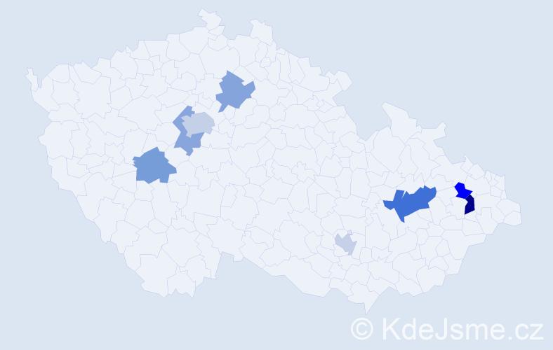 Příjmení: 'Caizl', počet výskytů 13 v celé ČR