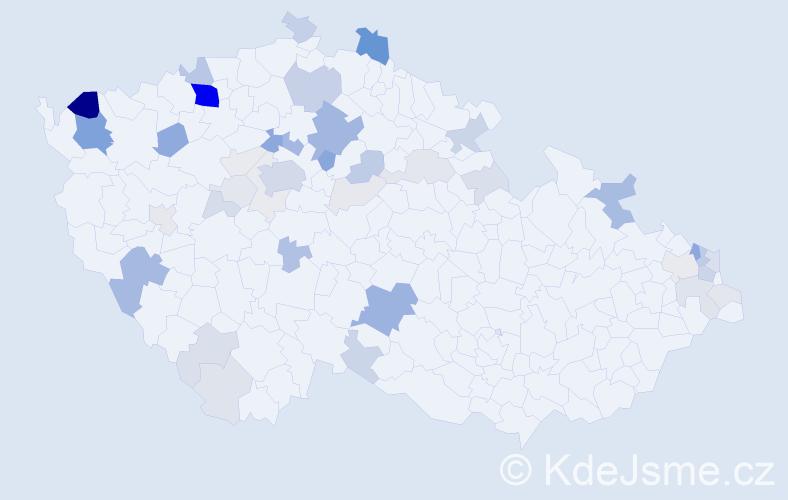Příjmení: 'Bažová', počet výskytů 176 v celé ČR