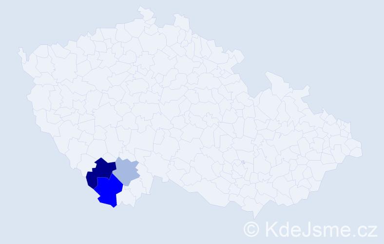 Příjmení: 'Cimerhanzl', počet výskytů 5 v celé ČR
