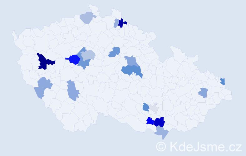 Příjmení: 'Bittmann', počet výskytů 43 v celé ČR
