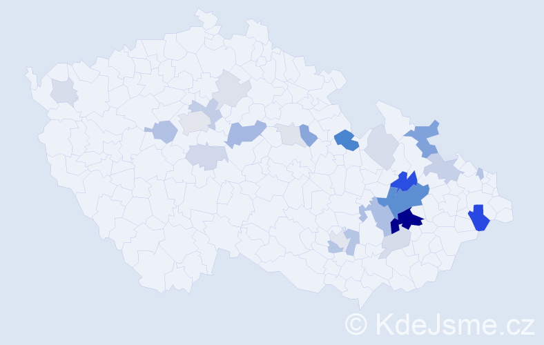 Příjmení: 'Doupal', počet výskytů 77 v celé ČR