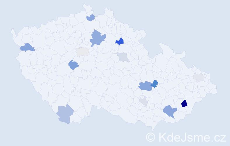 Příjmení: 'Ebner', počet výskytů 24 v celé ČR