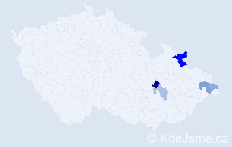 Příjmení: 'Hanuščák', počet výskytů 8 v celé ČR