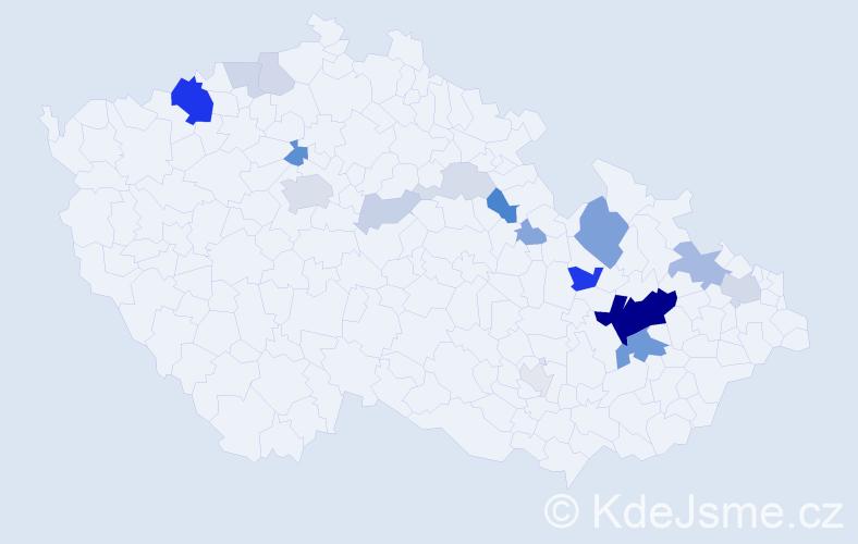 Příjmení: 'Brzokoupilová', počet výskytů 54 v celé ČR