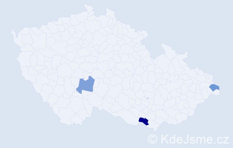 Příjmení: 'Cigaňová', počet výskytů 3 v celé ČR