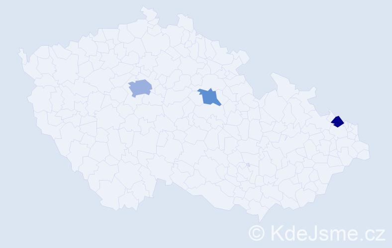 Příjmení: 'Awwad', počet výskytů 5 v celé ČR
