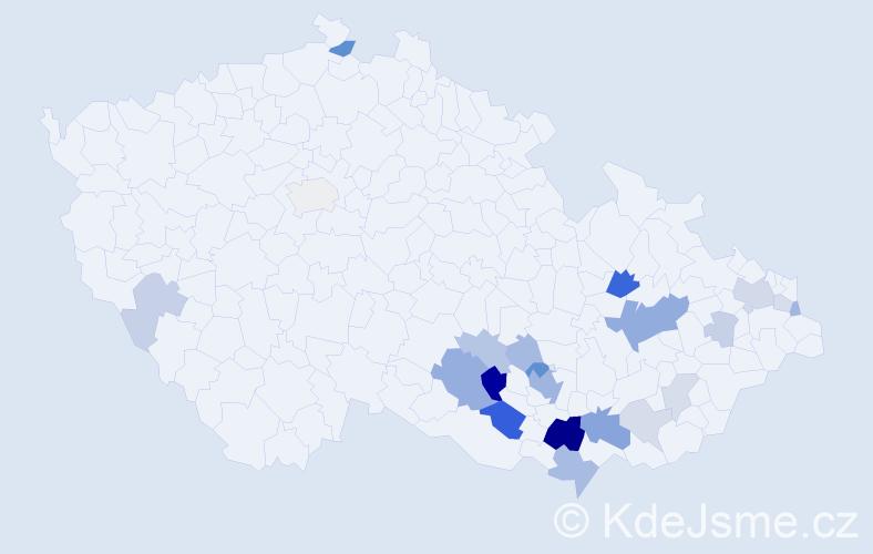 Příjmení: 'Foretník', počet výskytů 55 v celé ČR