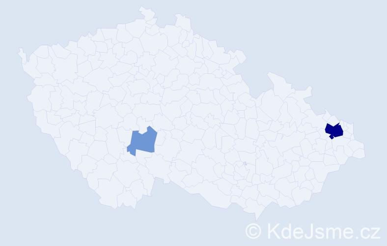 Příjmení: 'Fielek', počet výskytů 9 v celé ČR