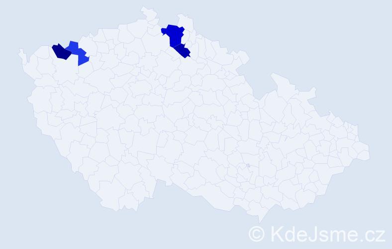 Příjmení: 'Častotický', počet výskytů 6 v celé ČR