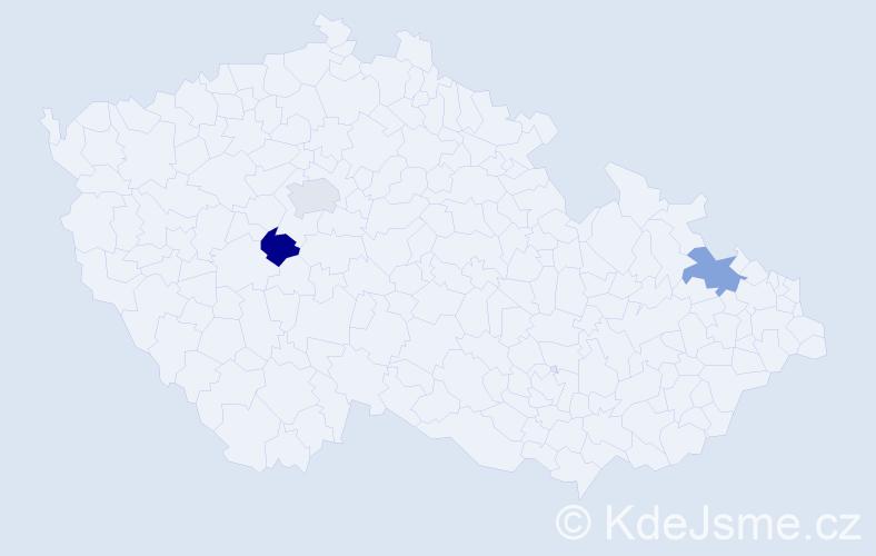 Příjmení: 'Černy', počet výskytů 3 v celé ČR