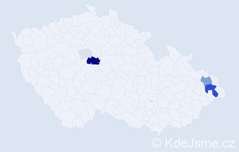 Příjmení: 'Lasevičová', počet výskytů 7 v celé ČR