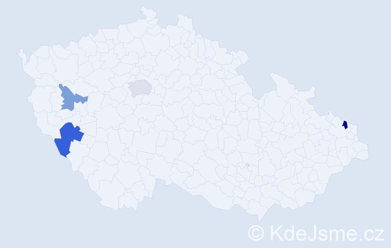 Příjmení: 'Harmadyová', počet výskytů 7 v celé ČR