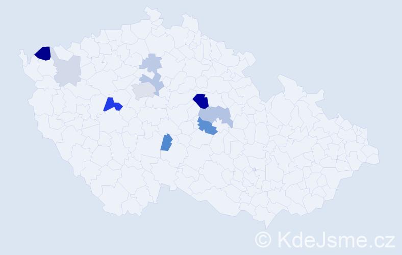 Příjmení: 'Hormandl', počet výskytů 27 v celé ČR
