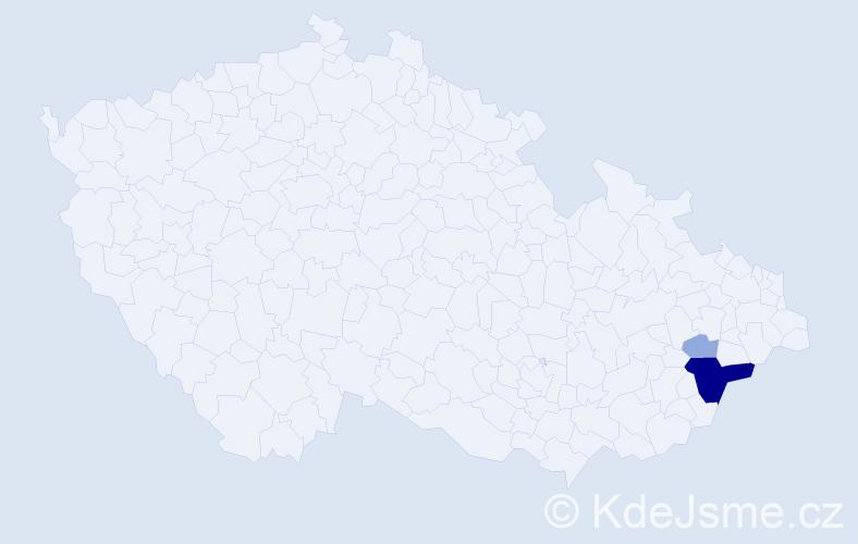 Příjmení: 'Dukátník', počet výskytů 9 v celé ČR