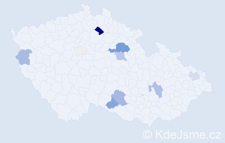 Příjmení: 'Josif', počet výskytů 20 v celé ČR