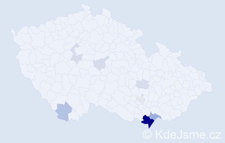 Příjmení: 'Čulen', počet výskytů 34 v celé ČR