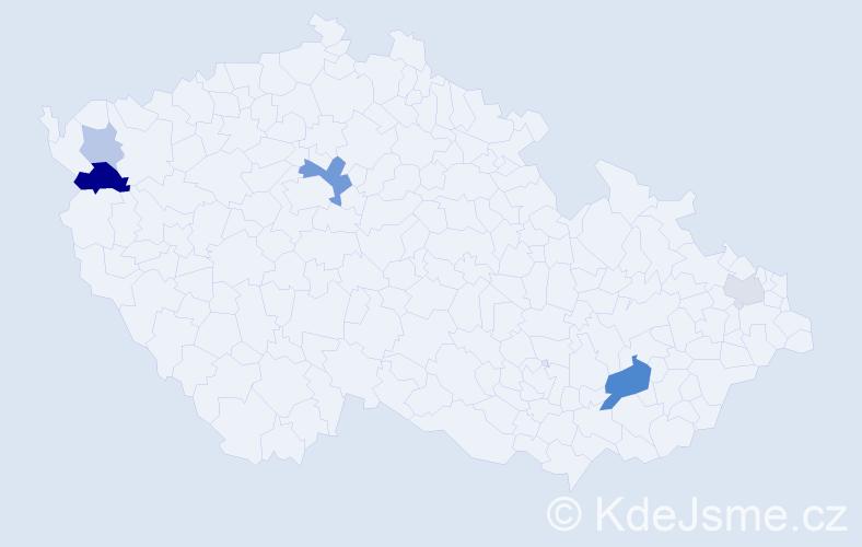 Příjmení: 'Kyller', počet výskytů 12 v celé ČR