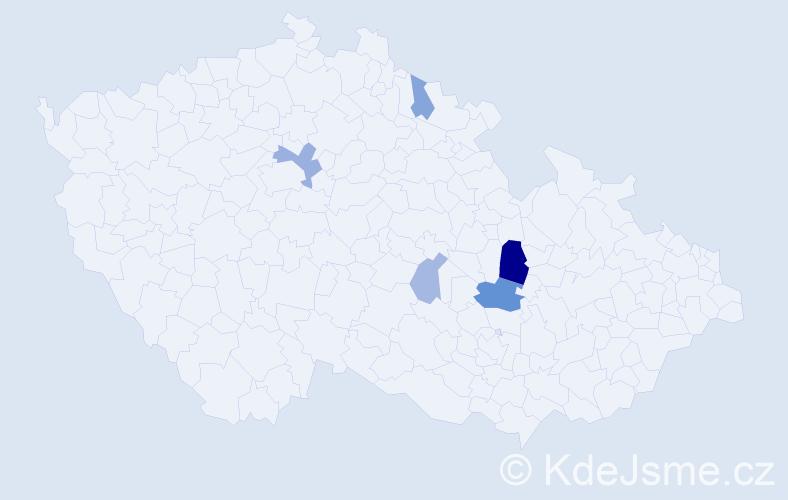 Příjmení: 'Haderová', počet výskytů 11 v celé ČR