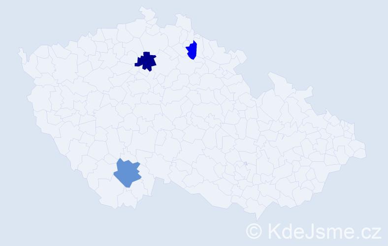 Příjmení: 'Enkler', počet výskytů 5 v celé ČR