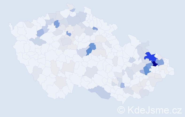 Příjmení: 'Hon', počet výskytů 406 v celé ČR