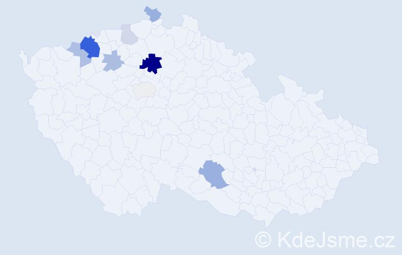 Příjmení: 'Boho', počet výskytů 21 v celé ČR