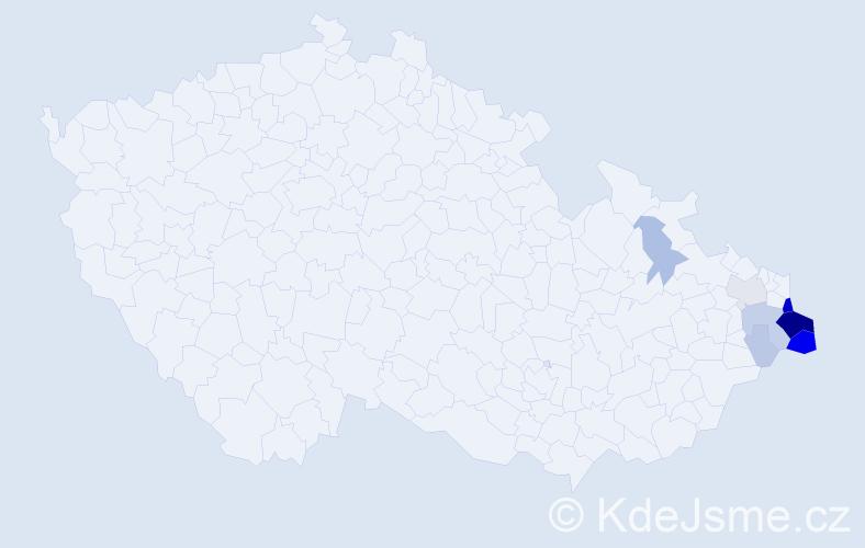 Příjmení: 'Gociek', počet výskytů 45 v celé ČR
