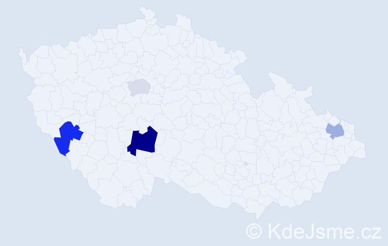 Příjmení: 'Bošňák', počet výskytů 5 v celé ČR